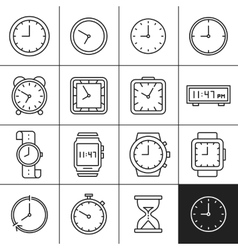 Clock and watch icons vector