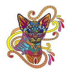 Colorful ornamental cat 8 vector