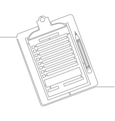Continuous line one drawing clipboard with pencil vector
