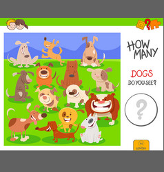 Counting dogs activity worksheet task vector