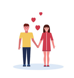 couple in love holding hands happy valentines day vector image