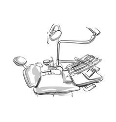 Dentist chair sketch doctor utilities storyboard vector