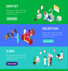 dentistry interior banner horizontal set isometric vector image