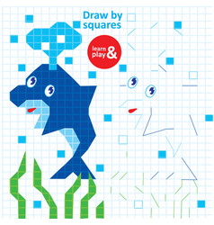 Draw squares dolphin kid game printable worksheet vector