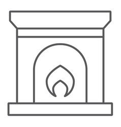 Fireplace thin line icon home and interior fire vector