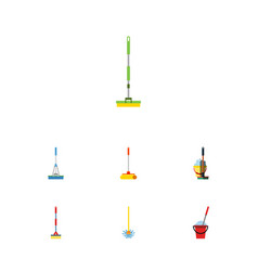 flat icon cleaner set of equipment cleaning vector image