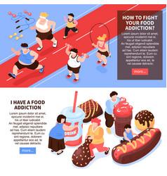 Food addiction horizontal banners vector
