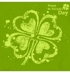 Four leaf clover grunge on vector image