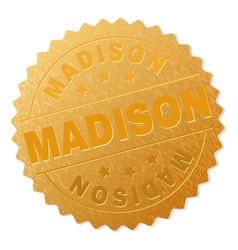Gold madison medal stamp vector