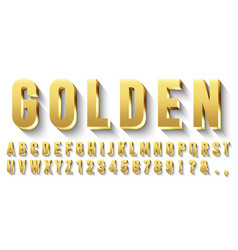 Golden 3d font metallic gold letters luxury vector