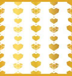 Golden yellow geometric hearts seamless pattern vector