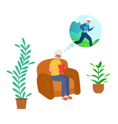 grandma is sitting at home on couch reading a vector image