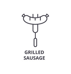 grilled sausage line icon outline sign linear vector image