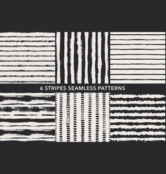 grunge stripes hand drawn seamless patterns set vector image