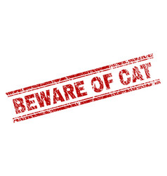 Grunge textured beware of cat stamp seal vector