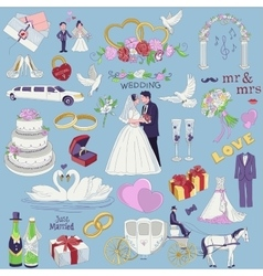 Hand drawn collection of decorative wedding design vector image