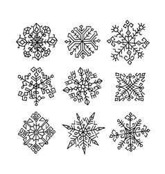 hand drawn snowflakes ethnic design vector image