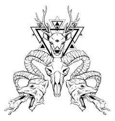Hand drawn surreal animals composition with vector