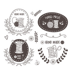 hand made sewing set icons vector image