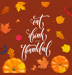 happy thanksgiving holiday autumn fall pumpkin vector image