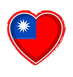 Heart shaped flag of taiwan vector