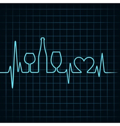 Heartbeat make wine glassesbottle and heart vector image