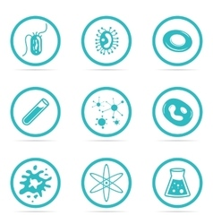 Icon Set Helpful and harmful cells bacteria vector