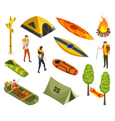 isometric camping colored symbols hiking icon vector image