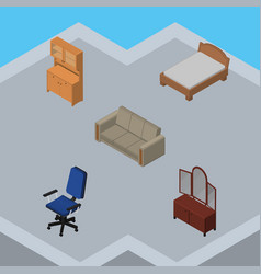 Isometric furniture set of bedstead office vector