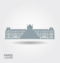 louvre in paris flat icon with shadow vector image