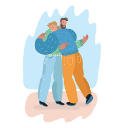 male friendship men friends hugging each others vector image
