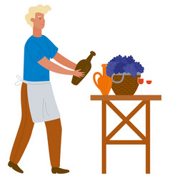 man in pouring wine from earthen jar image vector image