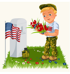 memorial day background american veterans lay vector image
