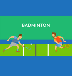 Men with racket toss shuttlecock badminton vector