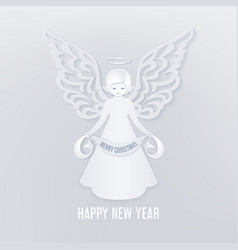 merry christmas paper cut card with angel vector image
