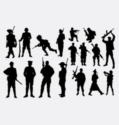 Military and police silhouette vector