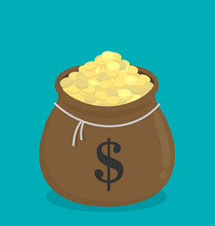 Moneybag with gold coins flat isolated on color vector