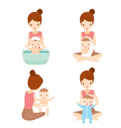 Mother Washing Baby Set vector