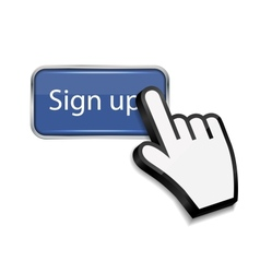 Mouse hand cursor on sign up button vector