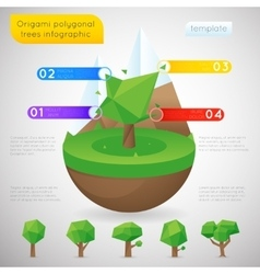 Origami polygonal trees infographic template vector