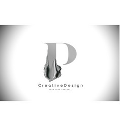 P letter design brush paint stroke black p letter vector
