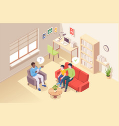 people at psychologist counseling father and son vector image