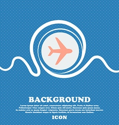 Plane sign icon Blue and white abstract background vector image