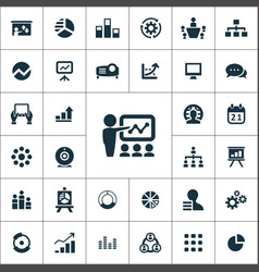 presentation icons universal set for web and ui vector image