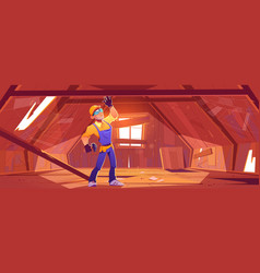Repairman on old attic with broken roof vector