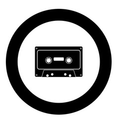 retro audio cassette icon black color in round vector image