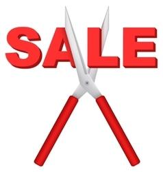 Sale word cut large scissors vector
