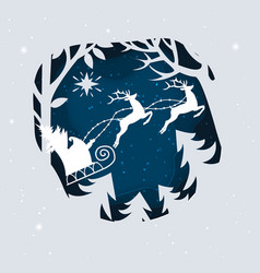 santa claus with deer in a forest and snow paper vector image