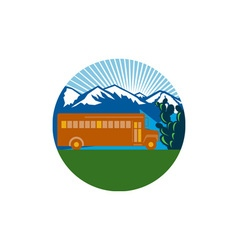 School bus vintage cactus mountains circle retro vector