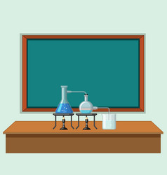 Science classroom with tools on table vector